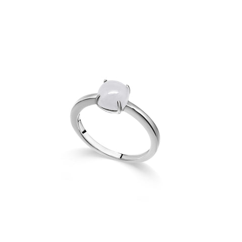 Dazzle Collection - Stackable White Jade Ring (Round)