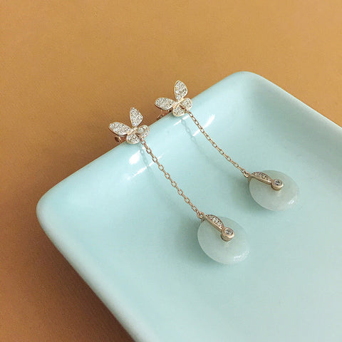 [Made-to-Order] Dainty Butterfly Drop Donut Earring