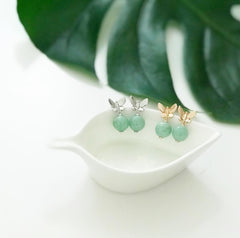[Made-to-Order] Dazzle Collection - Dainty Butterfly Earring in Green Jade