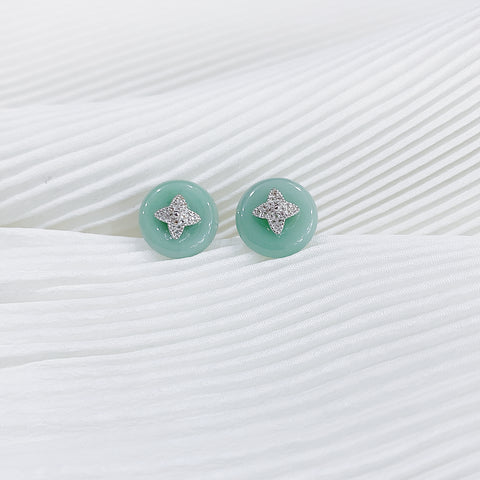Star Stud Donut Jade Earrings