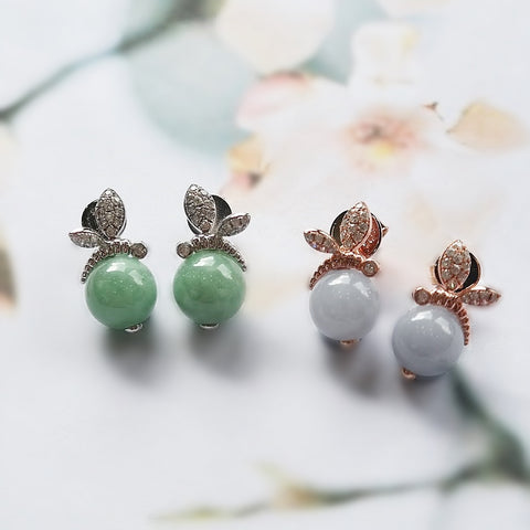 [Made-to-Order] Bee Earrings in Apple Green Jade