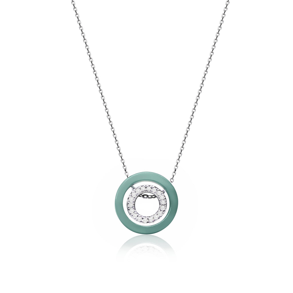 [Made-to-Order] Double Happiness - Inner Circle Necklace in Green Jade