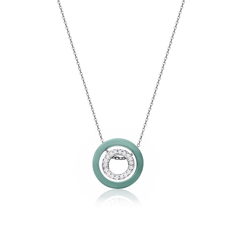 [Made-to-Order] Double Happiness - Inner Circle Necklace in Apple Green Jade