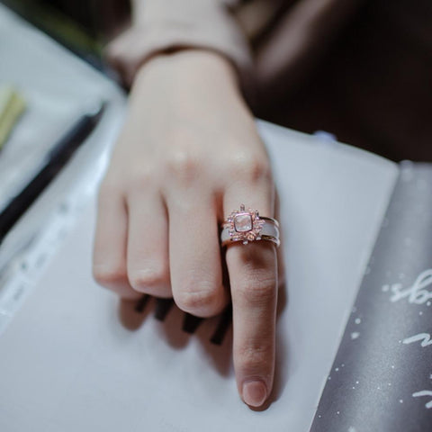 [Made-to-Order] Sundial Ring, Rose Quartz
