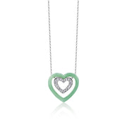 [Made-to-Order] Double Happiness - Graceful Heart Necklace in Green Jade