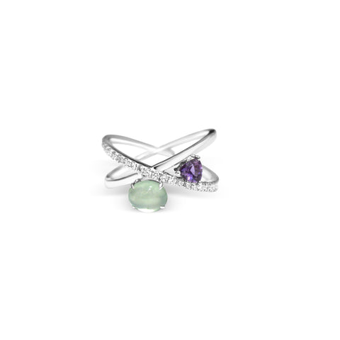 Adriana Icy Jade Ring with Purple Sapphires (18K Solid Gold)