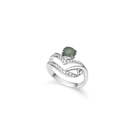 Crown Icy Jade Ring (18K Solid Gold)