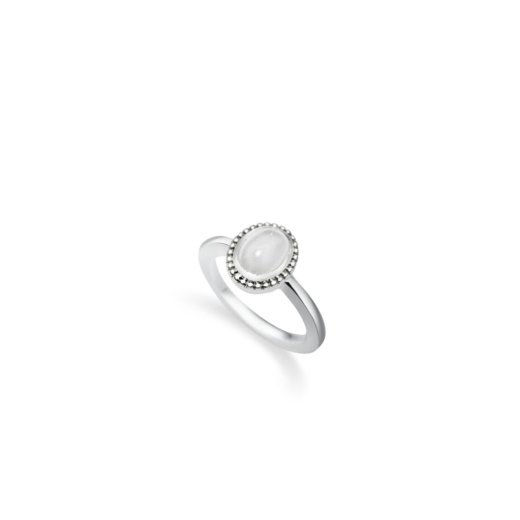 Dazzle Collection - Classic Milgrain Oval Jade Ring