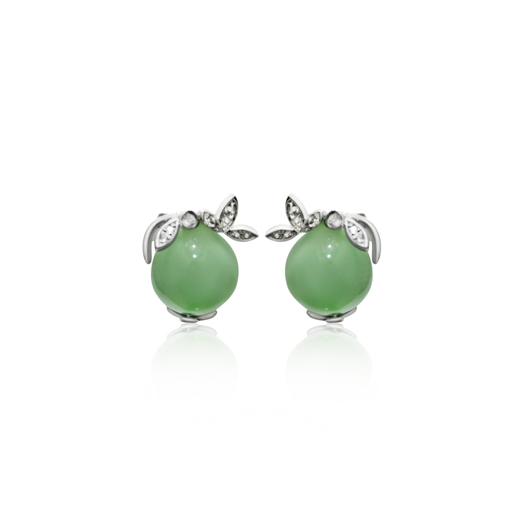[Made-to-Order] Dazzle Collection - Leafy Earring in Green Jade