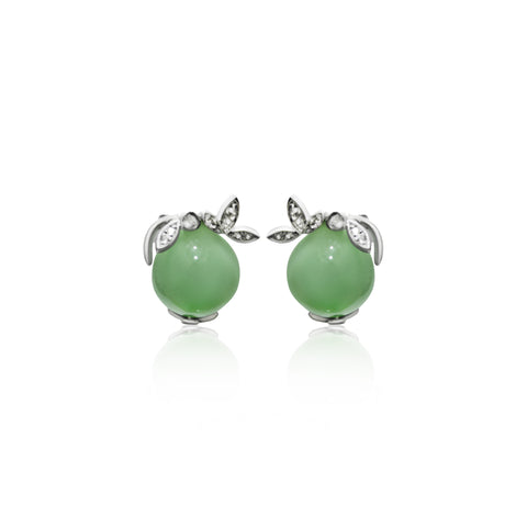 [Made-to-Order] Dazzle Collection - Leafy Earring in Apple Green Jade