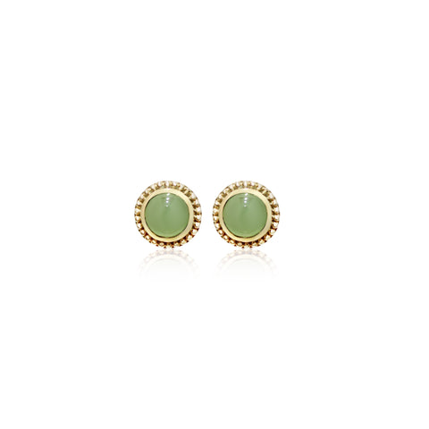 [Made-to-Order] Dazzle Collection - Classic Milgrain Round Jade Earring