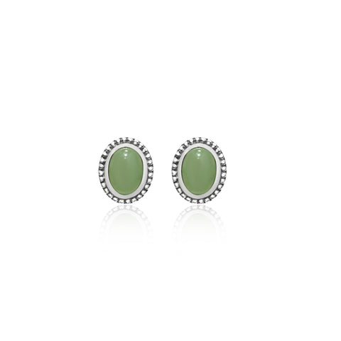 [Made-to-Order] Dazzle Collection - Classic Milgrain Oval Jade Earring