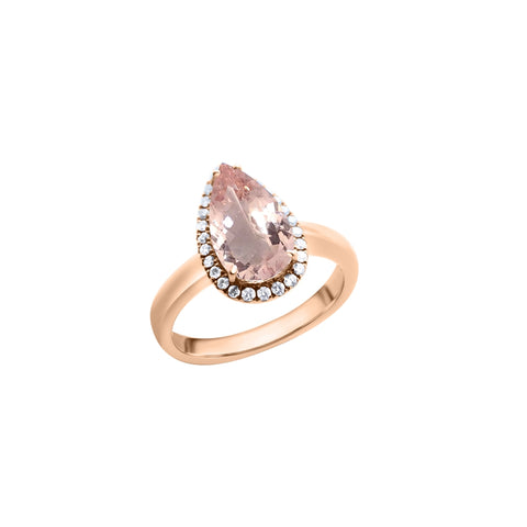 Classic Teardrop Morganite Ring (18K Solid Gold)