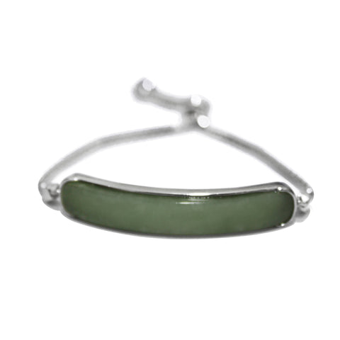 Elongated Bracelet in Green Jade