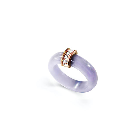 Weaven Love Jade Ring in Lavender Jade (14K Solid Gold)