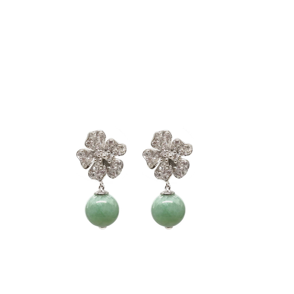 Camellia Earring in Apple Green Jade (6K White Gold)