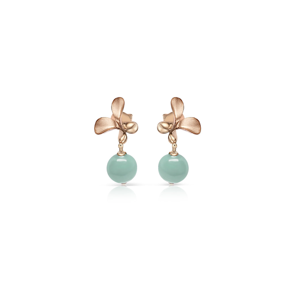 [Made-to-Order] Dazzle Collection - Flower Bud Earring in Green Jade