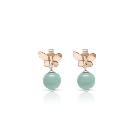 [Made-to-Order] Dazzle Collection - Dainty Butterfly Earring in Apple Green Jade