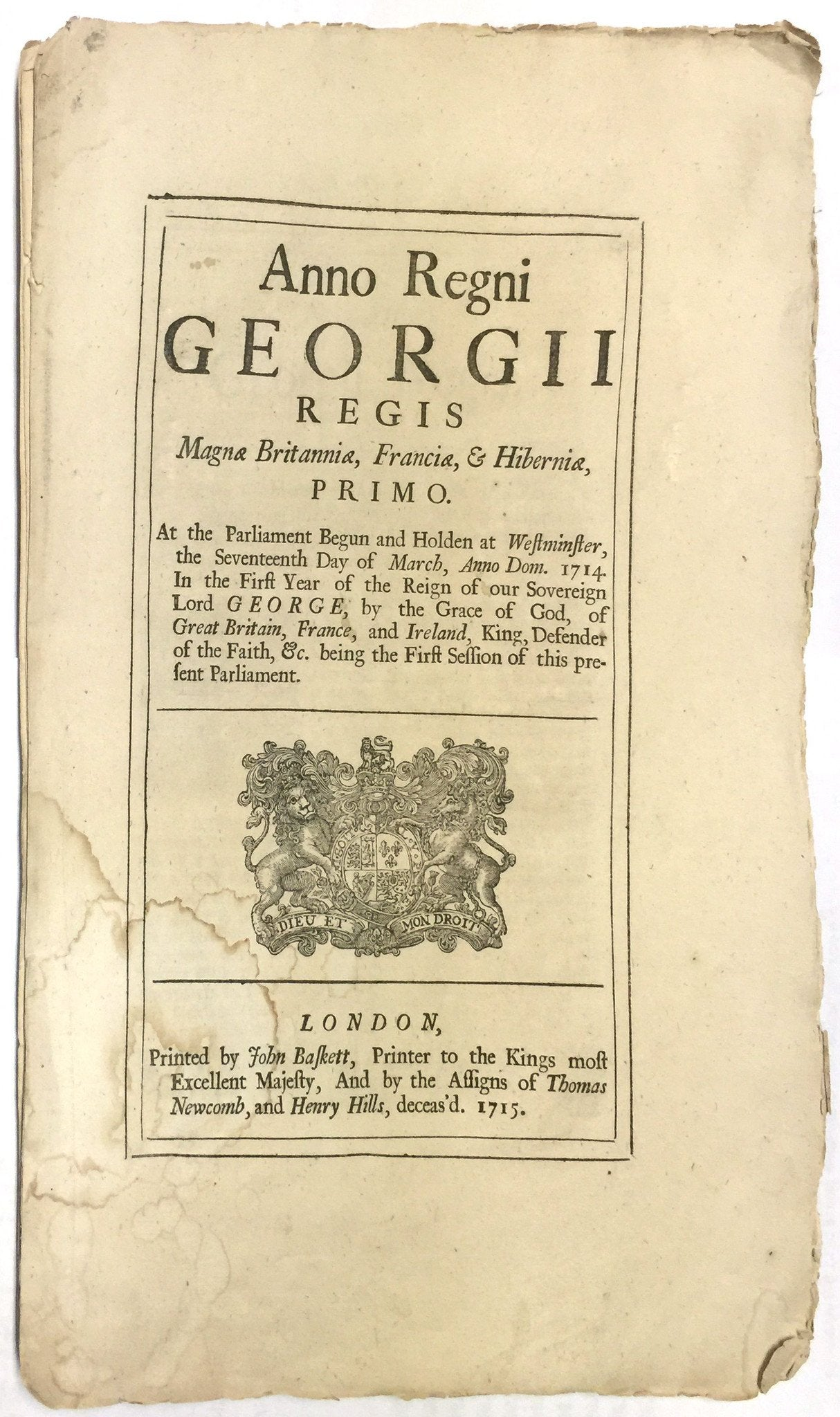 17 March 1714 Act Of Parliament - Product