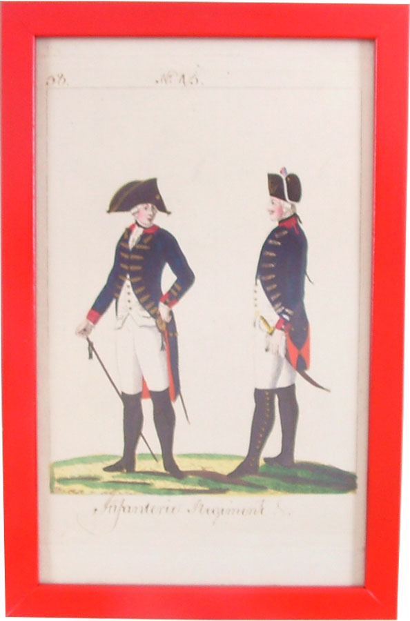 HAND TINTED FRENCH MILITARY ENGRAVING C.1760