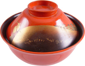 FINE JAPANESE LACQUERED BOWL AND COVER