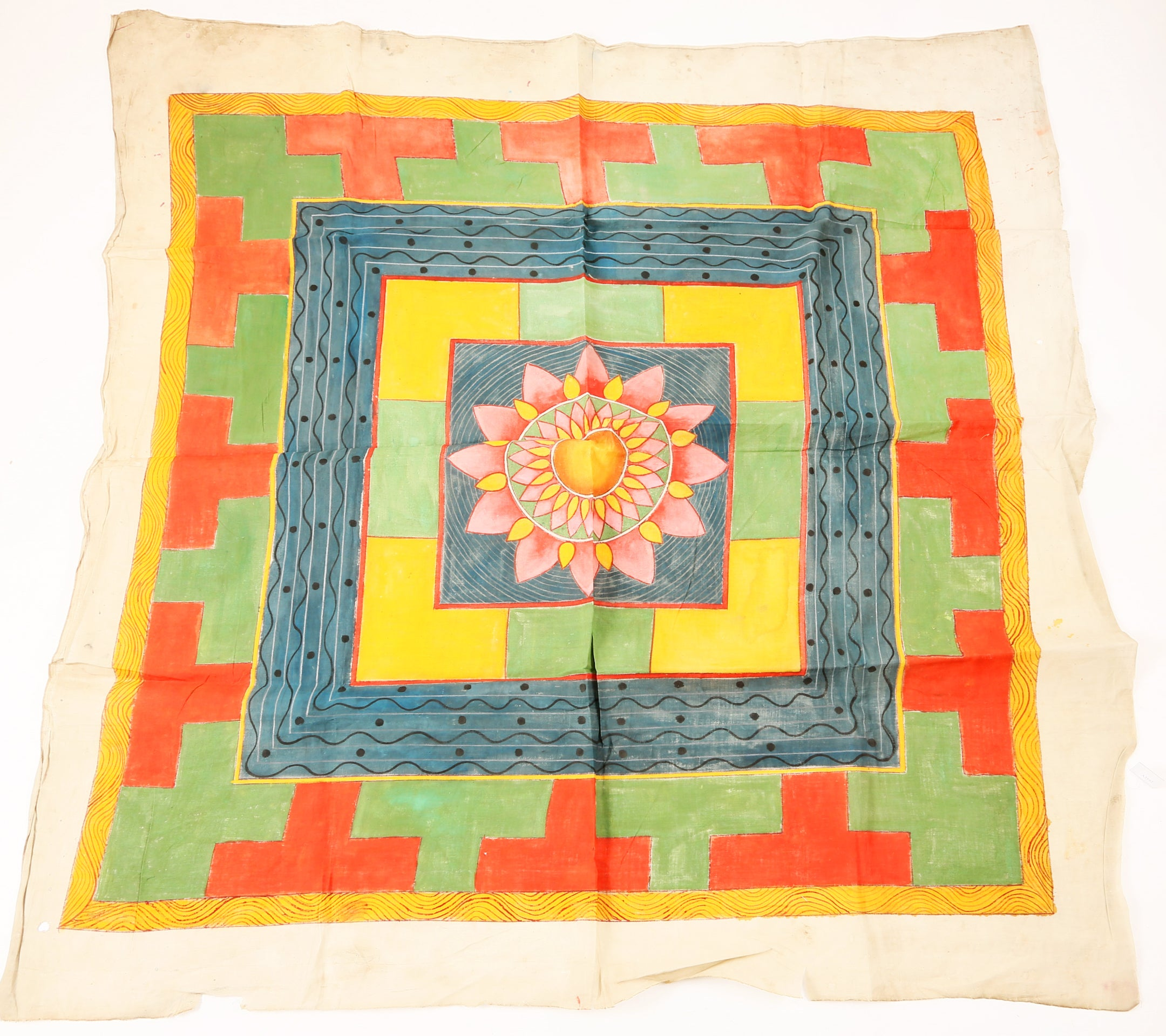 RARE TANTRIC BANNER, YANTRA. 19TH CENTURY OR EARLIER