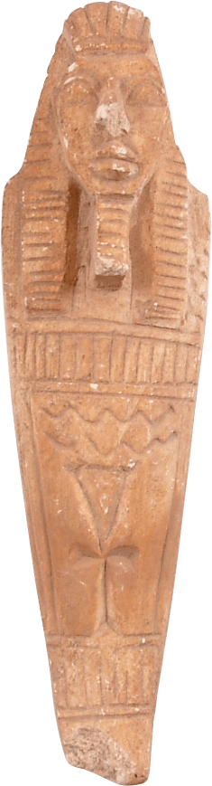 EGYPTIAN CARVED STONE FIGURE OF A SARCOPHAGUS