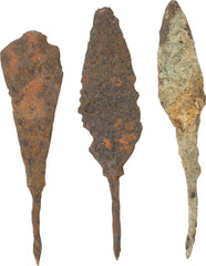 THREE MEDIEVAL IRON ARROWHEADS