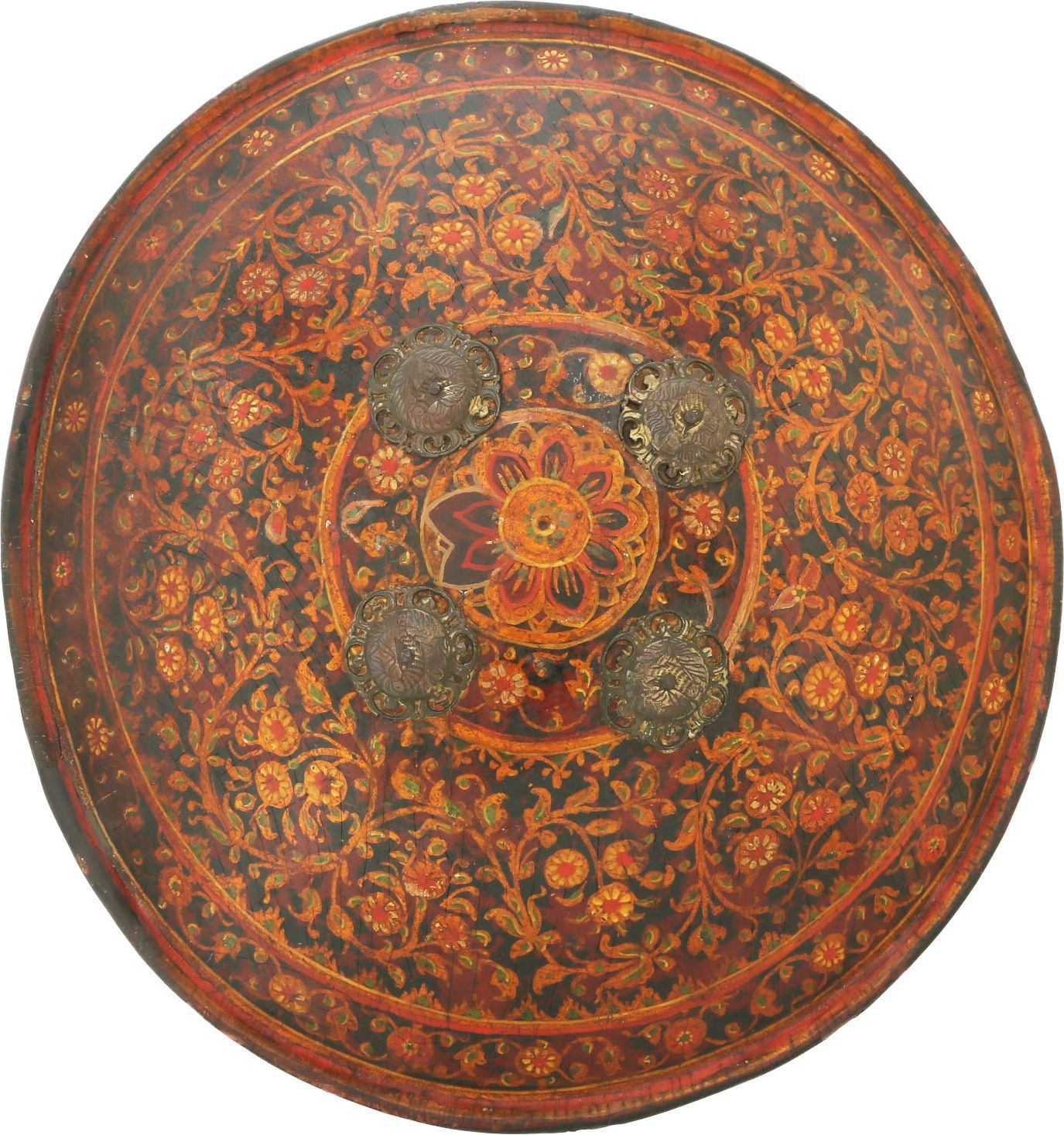 FINE INDOPERSIAN PAINTED HIDE SHIELD BUCKLER - Fagan Arms