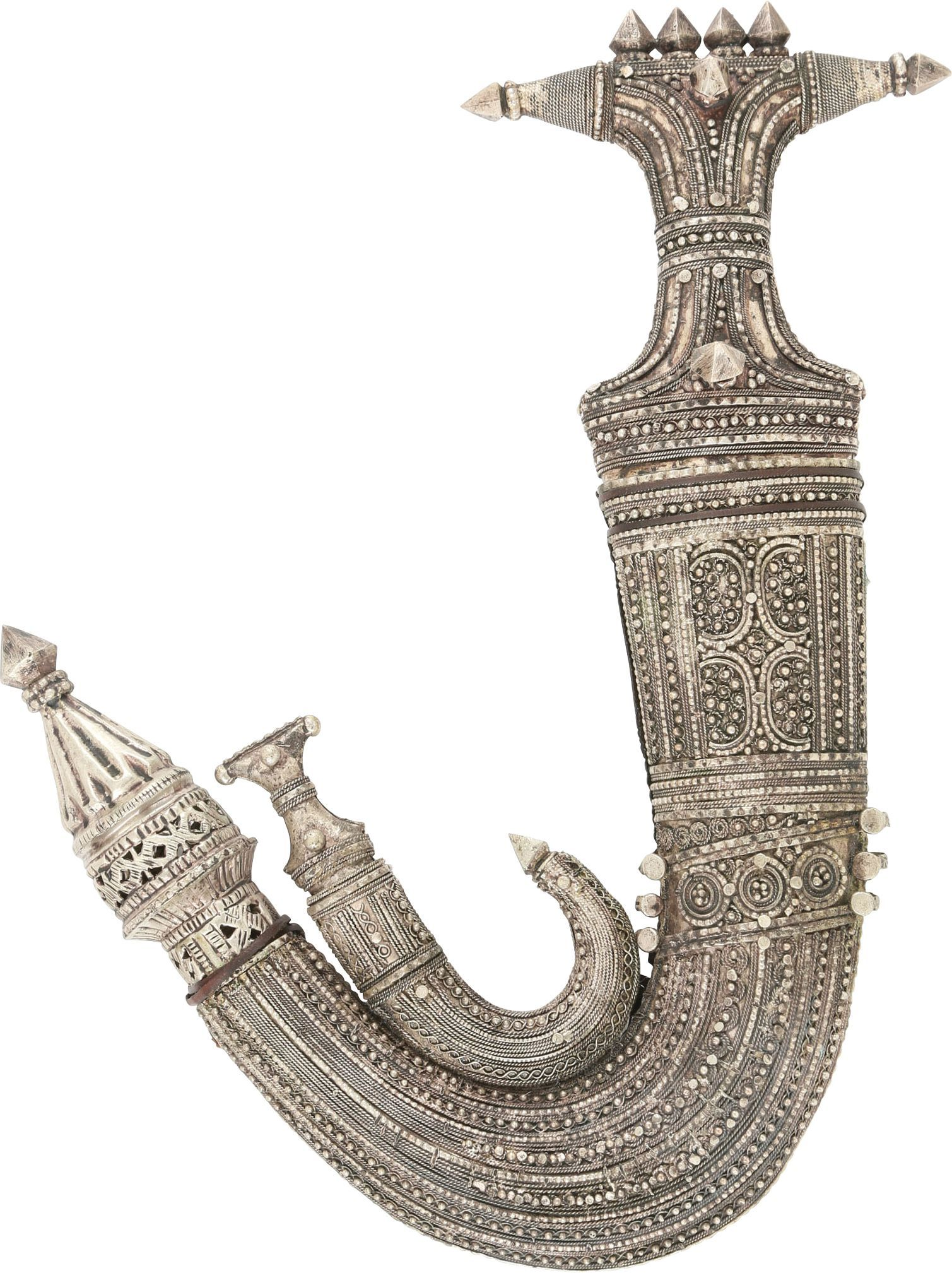 EXTRAORDINARY SILVER MOUNTED ARAB JAMBIYA - Fagan Arms