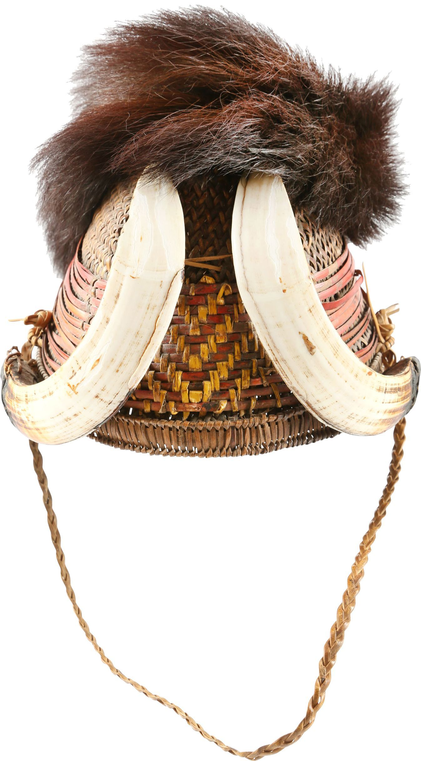 FINE NAGA HEADHUNTER'S WICKER HELMET/HAT