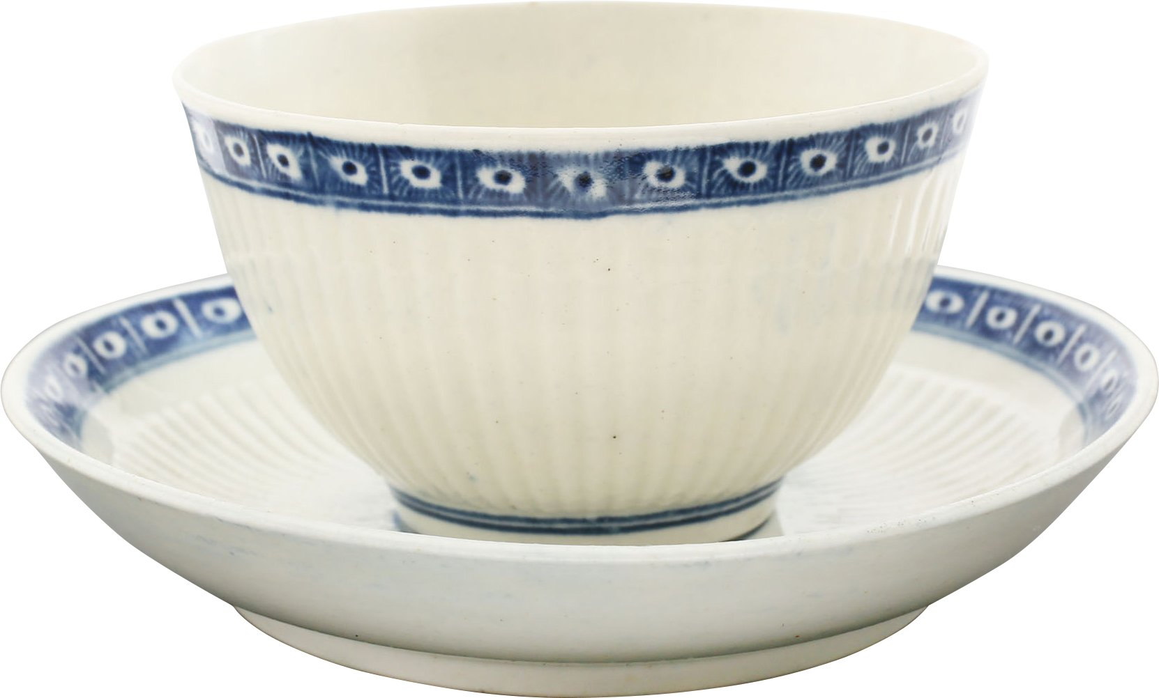 FIRST PERIOD WORCESTER TEA BOWL AND SAUCER. C.1770. - Fagan Arms