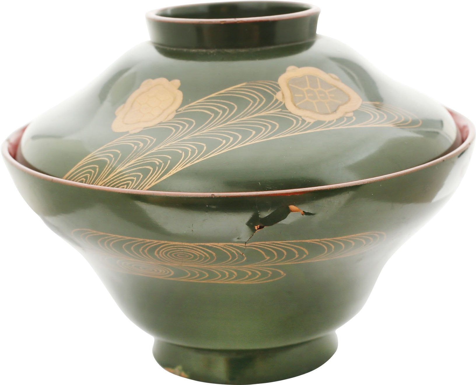 JAPANESE LACQUERED BOWL WITH COVER.