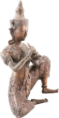 VINTAGE THAI TEMPLE FIGURE OF A MALE PLAYING A FLUTE - Fagan Arms