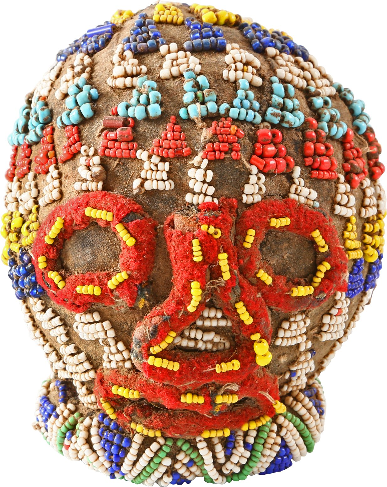 AFRICAN BEADED HEAD BATTLE TROPHY