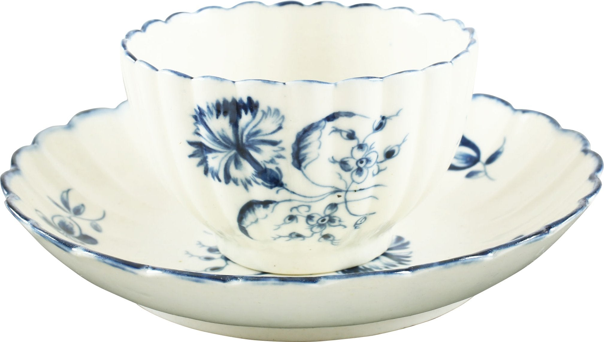 WORCESTER TEA BOWL AND UNDER BOWL C.1770.
