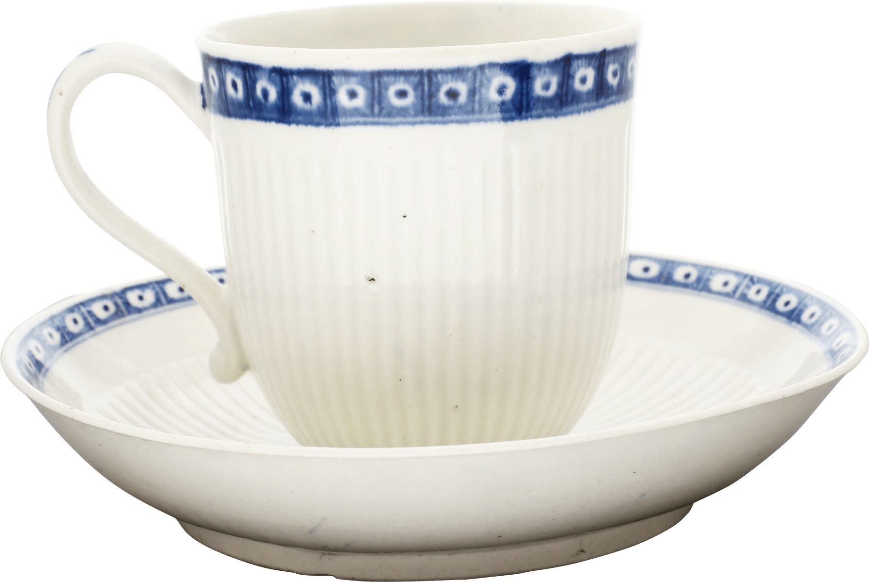 WORCESTER PORCELAIN EYE BORDER RIBBED COFFEE CUP AND SAUCER C.1770