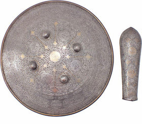 AN INDOPERSIAN IRON SHIELD AND ARM GUARD EARLY 19th CENTURY
