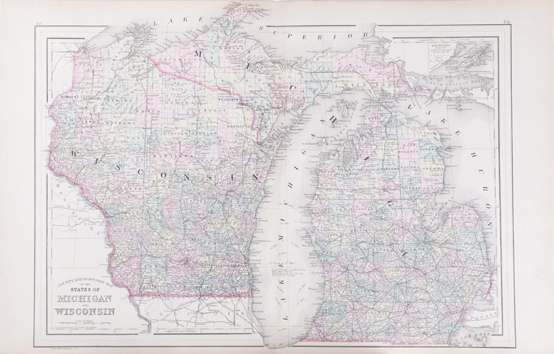 County And Township Maps Of The States Of Michigan And Wisconsin - Product