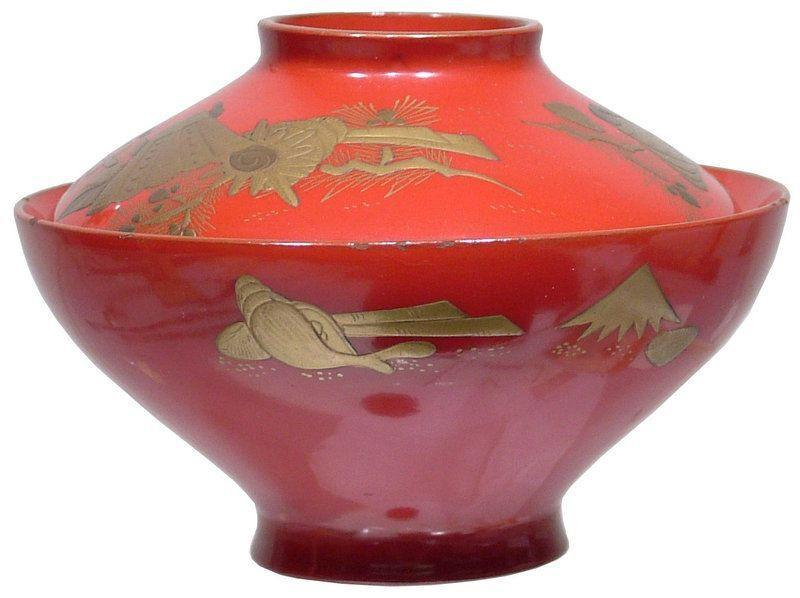 Edo Period Lacquered Bowl And Cover - Product