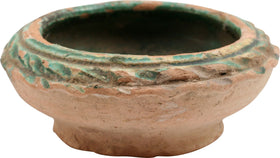 EGYPTIAN GREEN GLAZED TERRACOTTA COSMETIC BOWL