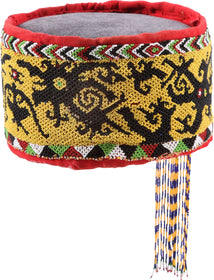 FINE AND RARE DAYAK HEADHUNTER'S BEADED HEADDRESS