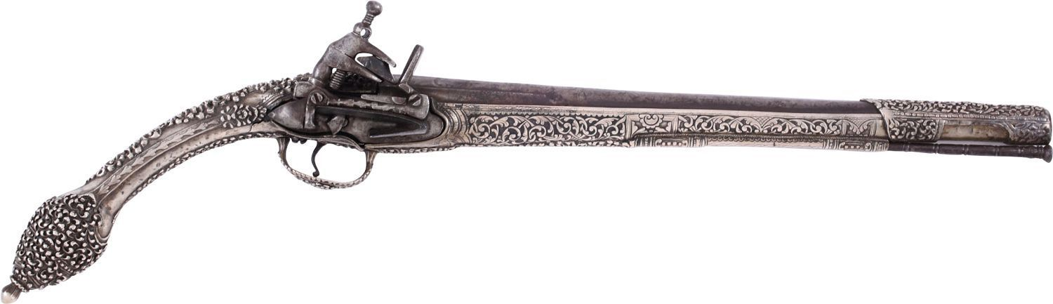 FINE OTTOMAN SILVER STOCKED MIQUELET PISTOL, LATE 18th-19th CENTURY - Fagan Arms