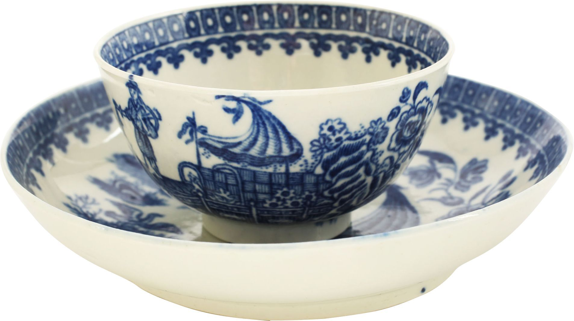 FIRST PERIOD WORCESTER TEA BOWL AND UNDER BOWL - Fagan Arms