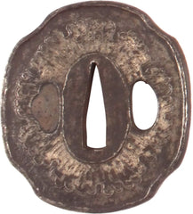 Indented Oval Form Iron Tsuba - Product