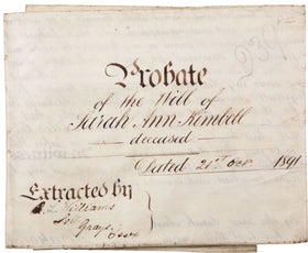LAST WILL AND TESTAMENT OF SARAH ANN KIMBELL, PROBATED LONDON 1891