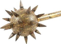 AN EXCEEDINGLY RARE ITALIAN GILT AND SILVERED MACE C.1560-75