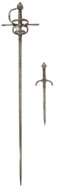 MAGNIFICENT SWEPT HILT RAPIER AND COMPANION LEFT HAND DAGGER