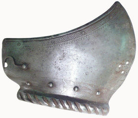 MUSEUM QUALITY LEFT CHEEK PIECE FROM A GERMAN TOURNAMENT CLOSE HELMET C.1560