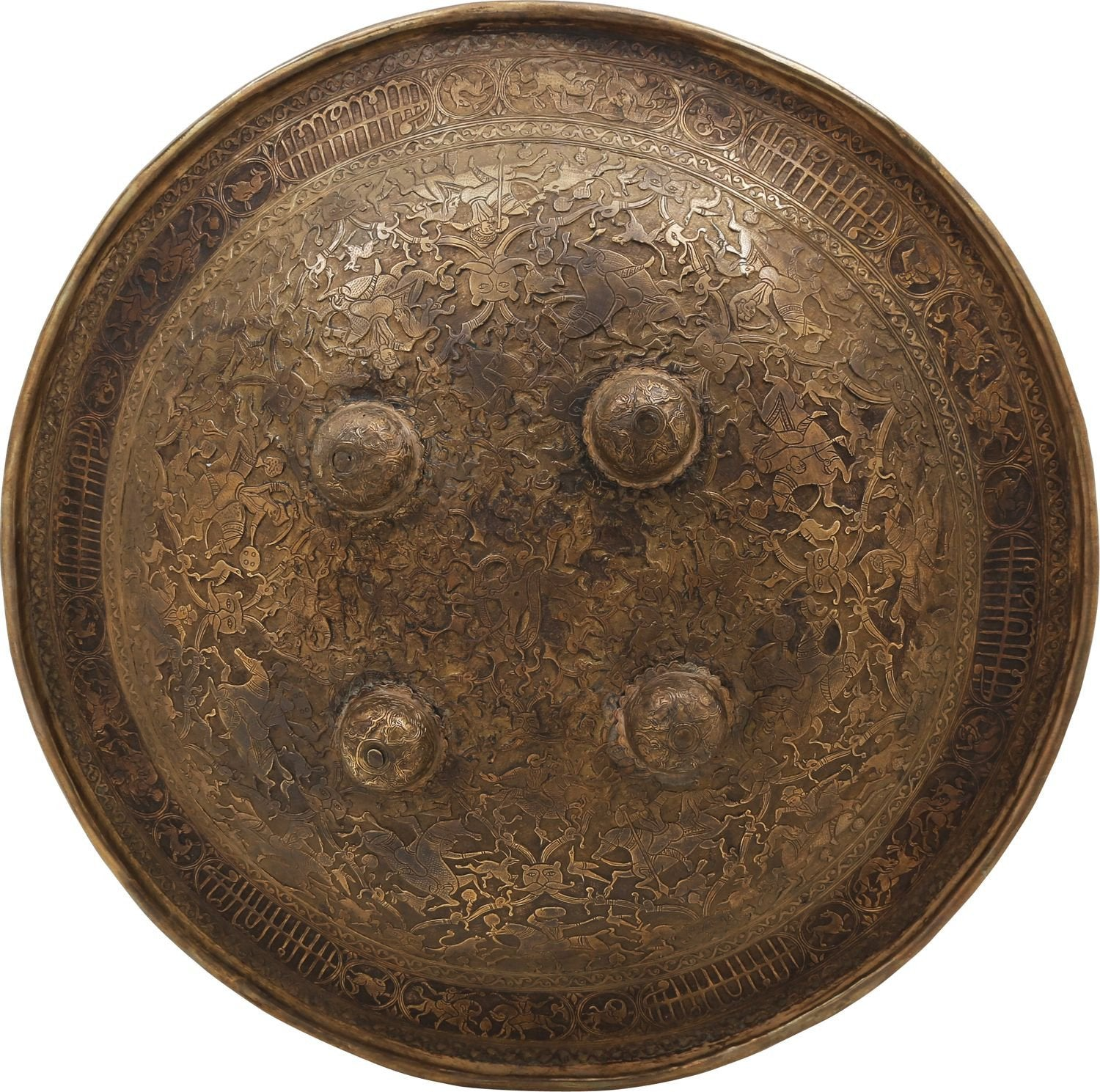 Rare Indopersian Decorated Brass Shield - Product